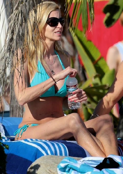 English:Camille Grammer Green Bikini Malibu