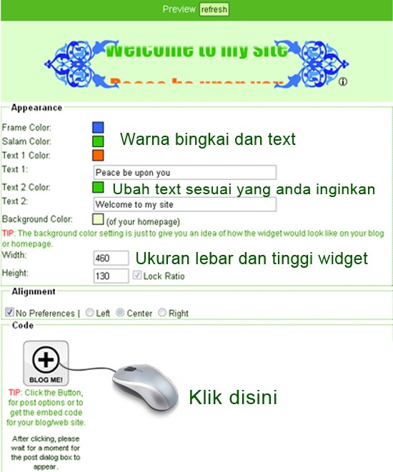 Membuat widget Islami di Blog