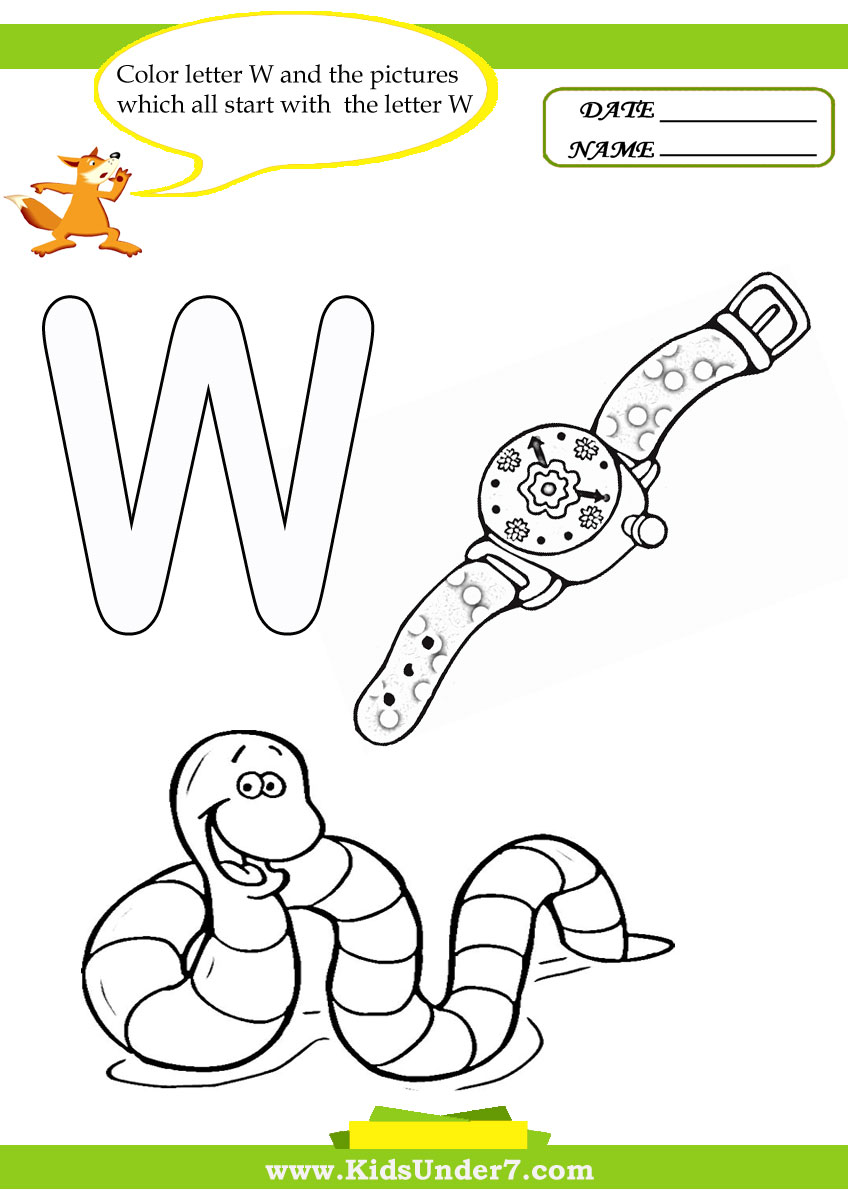 Kids Under 7 Letter W Worksheets and Coloring Pages – Letter V Worksheets for Kindergarten