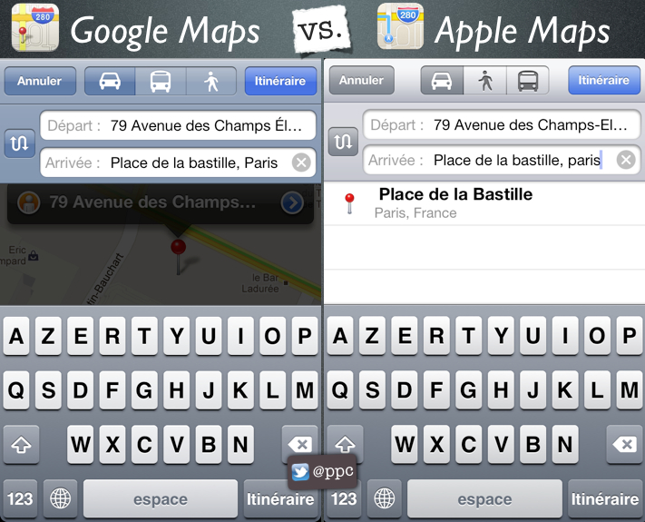 les diff rence de design entre google maps et apple maps. Black Bedroom Furniture Sets. Home Design Ideas