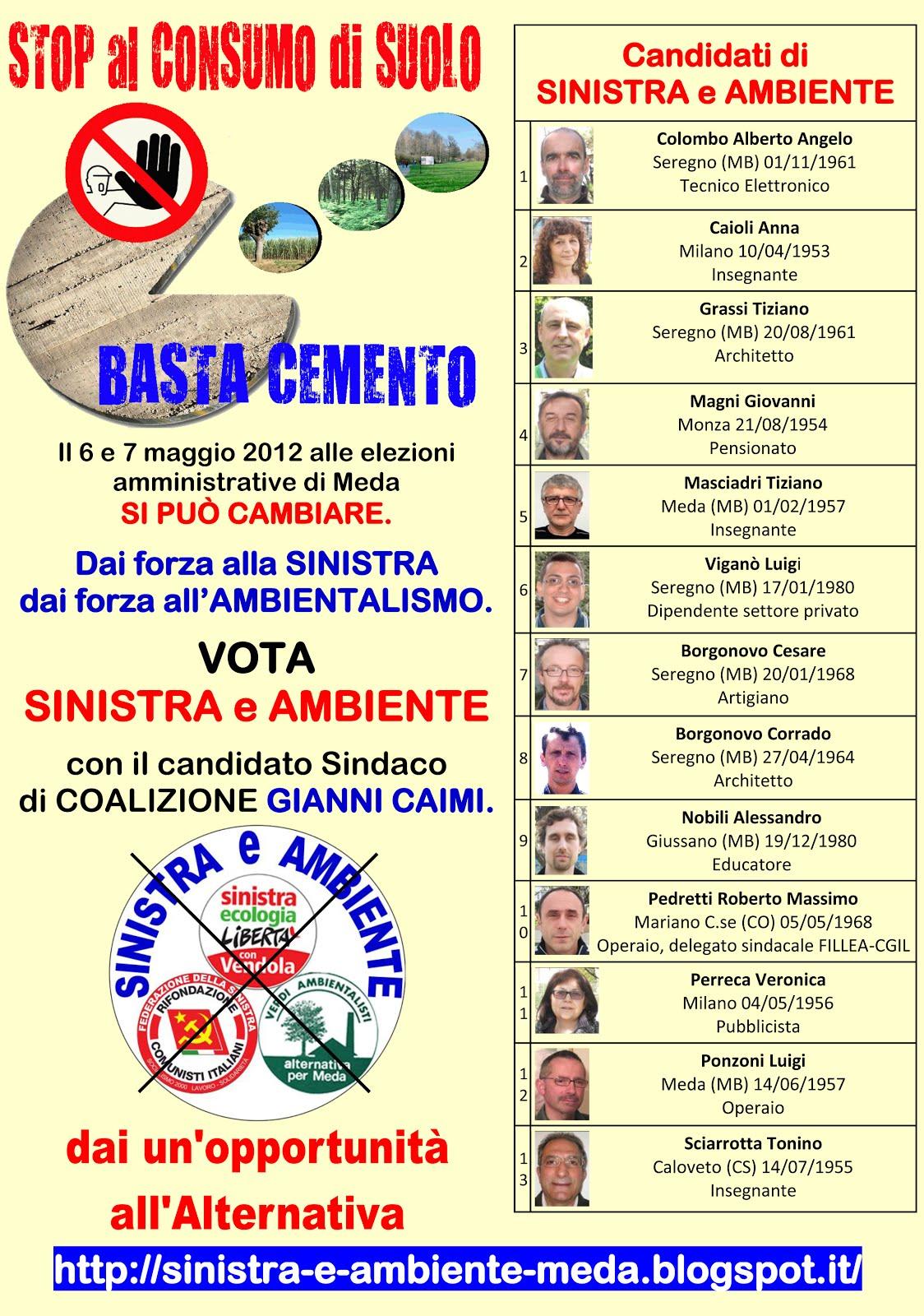 SINISTRA e AMBIENTE alle ELEZIONI AMMINISTRATIVE di MEDA del 2012