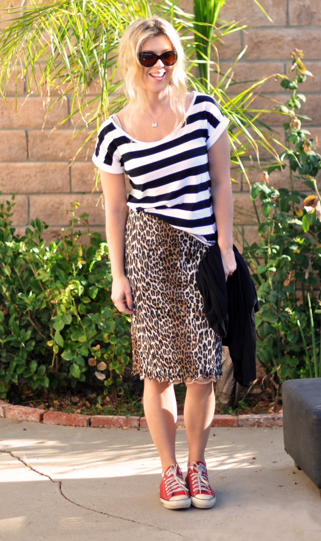 leopard and stripes, skirts with sneakers