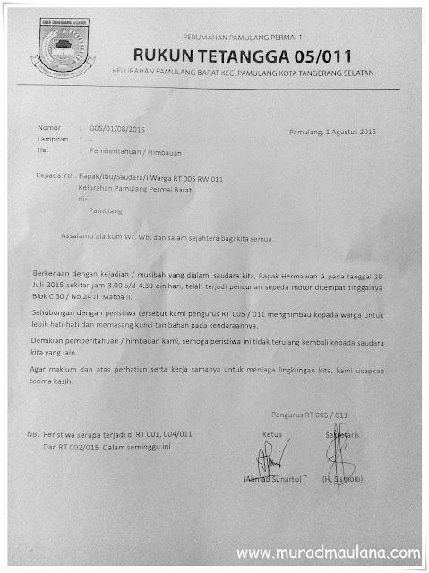Contoh Surat Pemberitahuan / Himbauan Dari RT