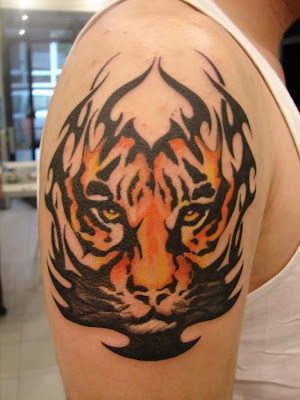 Shoulder Tribal Tiger Tattoo