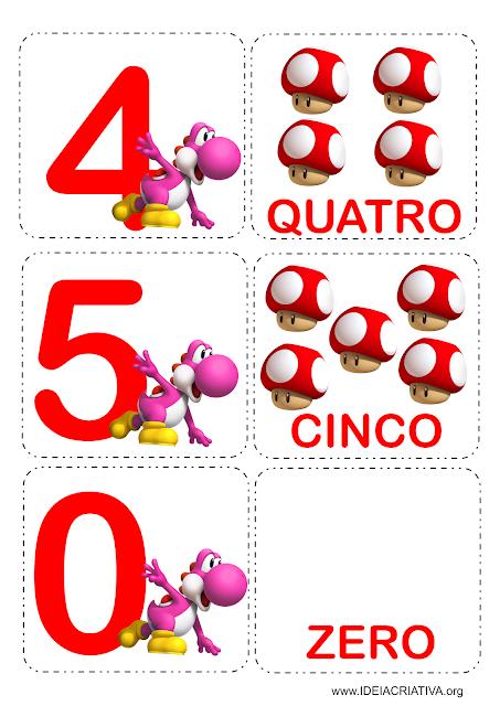 Jogo da Memória Numérico Personagens Super Mário