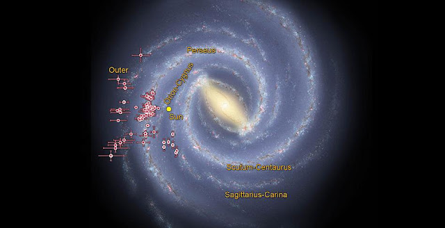 Astronomers using data from NASA's Wide-field Infrared Survey Explorer, or WISE, are helping to trace the shape of our Milky Way galaxy's spiral arms. This illustration shows where WISE data revealed clusters of young stars shrouded in dust, called embedded clusters, which are known to reside in spiral arms. Credit: NASA/JPL-Caltech/R. Hurt (SSC/Caltech)