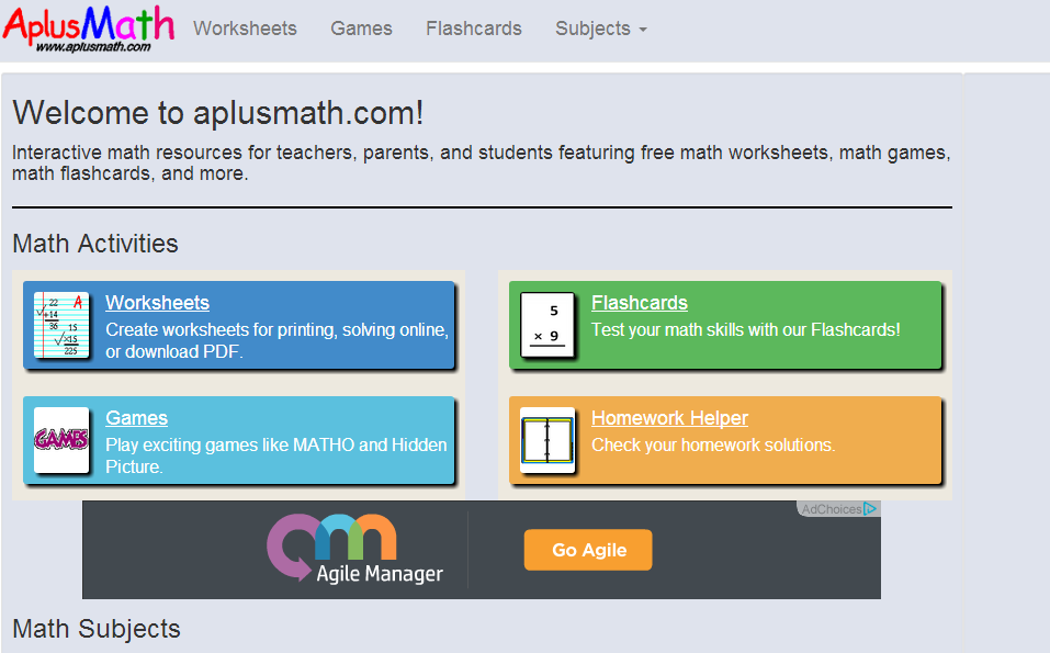 Learning Never Stops 56 great math websites for students of any age – Electronic Math Worksheets