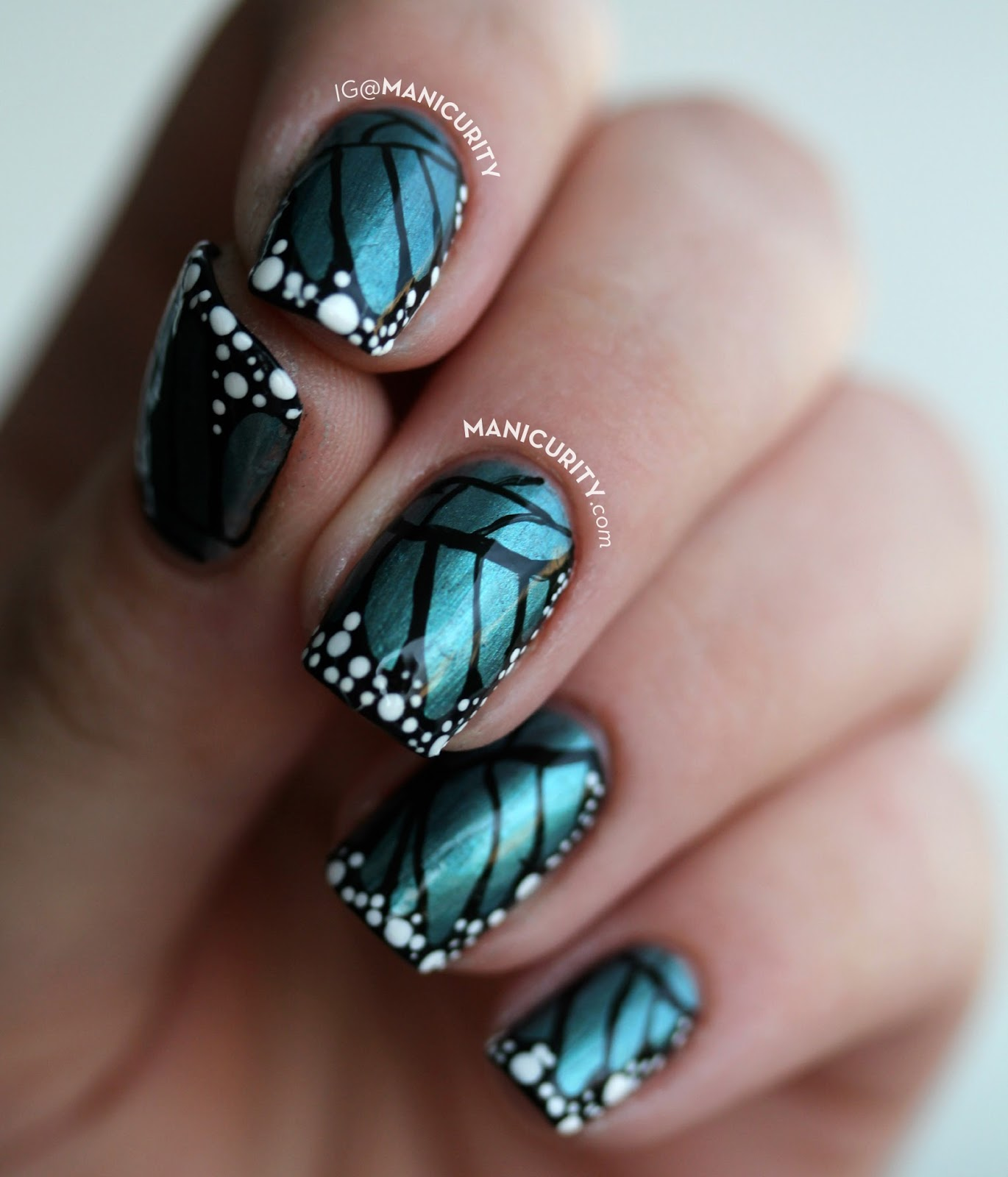 Freehand Butterfly Nail Art with My Custom Nayll Polish Lepidoptera - butterfly nails, butterfly nail art on square nails | Manicurity.com