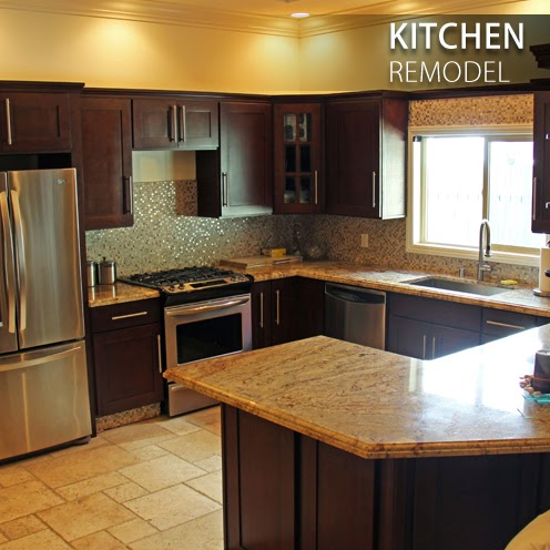this beautiful kitchen shown on the left has been remodeled and looks