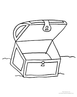 Coloring pages box template for Treasure chest coloring pages printable