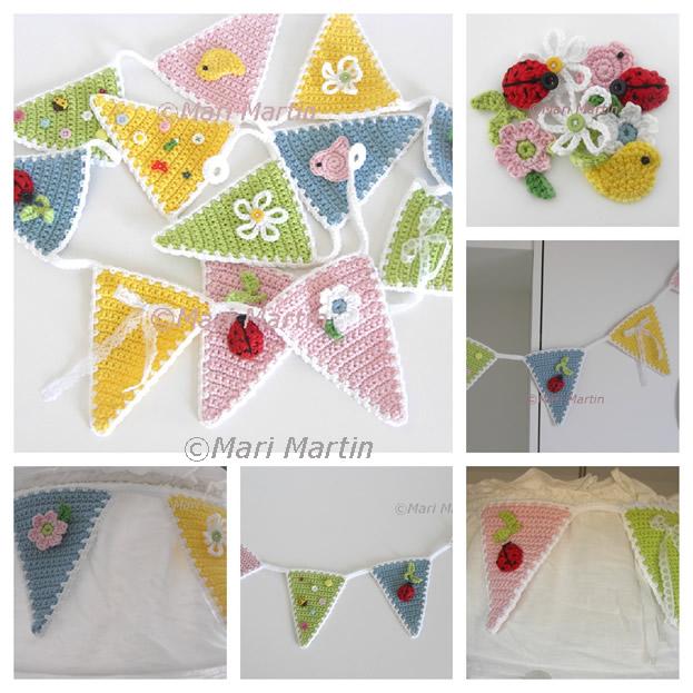 Crochet garden bunting