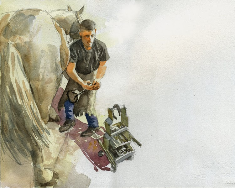 Illustration by Robert Crawford showing solder taking care of horse.