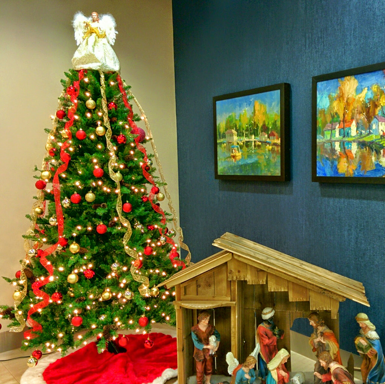 Christmas scene with manger tree
