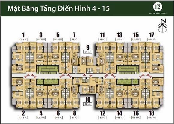 chung cư 102 Trường Chinh kinh kỳ Mặt bằng tầng 4-15