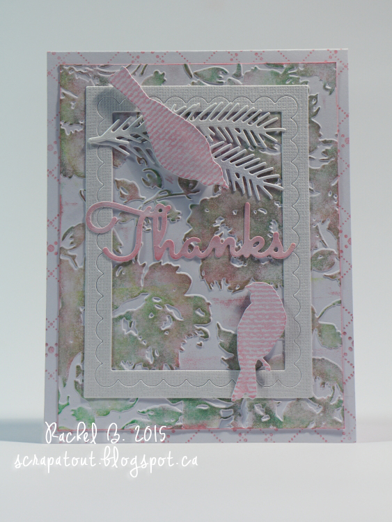 Handmade card, Thanks, Floral, Bird, Impression Obsession