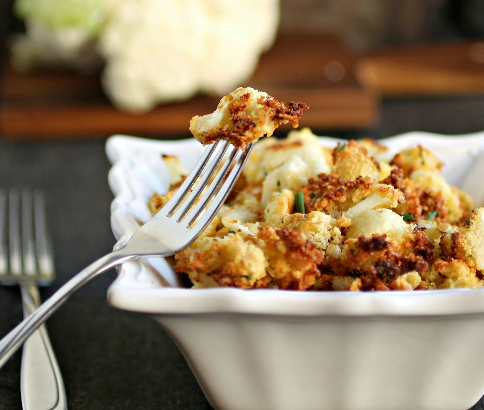 Oven Fried Crispy Cauliflower Poppers