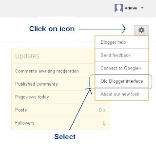 Select Old Blogger Interface from Drop Down Menu in Blogger overview