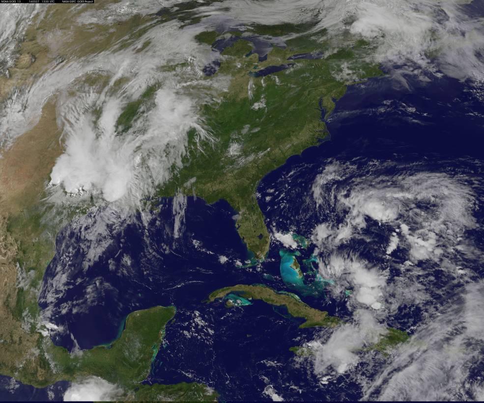 Tropical storm Bonnie developing off the Florida coast