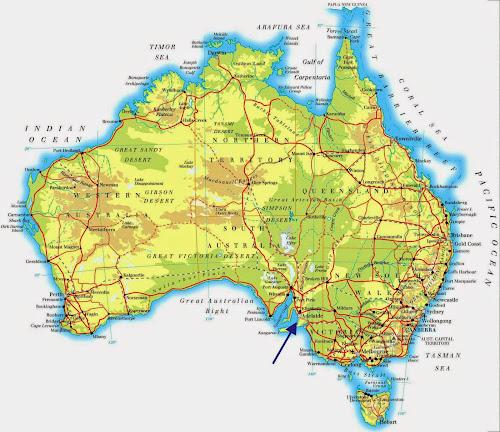 Mapa da localização de Adelaide na Austrália
