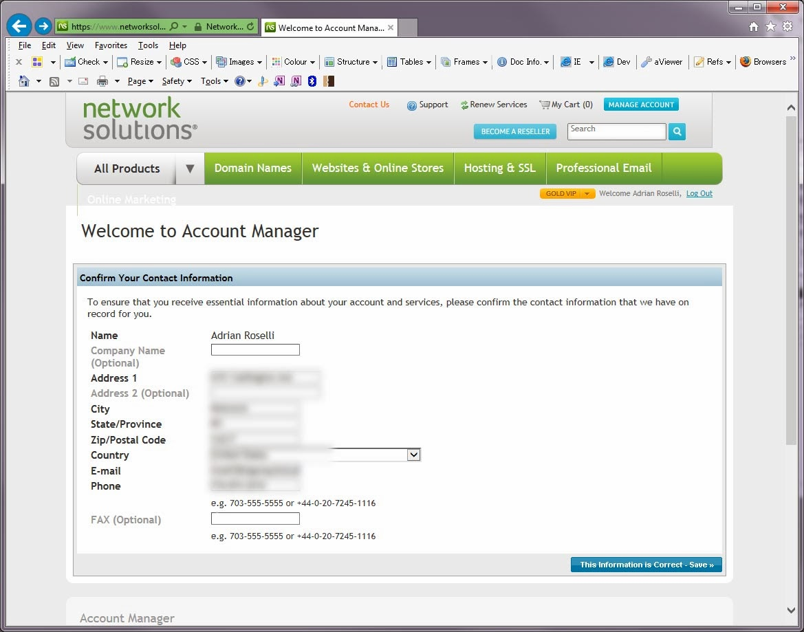 Screenshot of Network Solutions login flow.