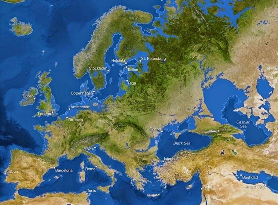 Harta Europei dupa topirea ghetarilor