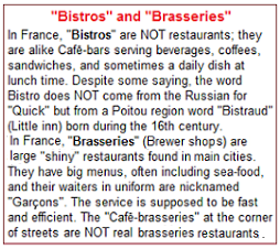 """Bistros"" and ""Brasseries"" ?"