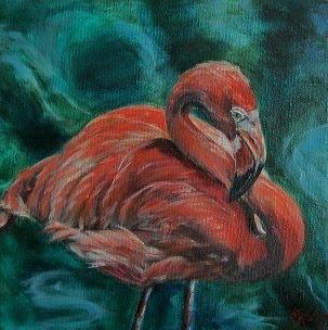 """Flamingo Flare"",  flamingo portrait- SOLD!"