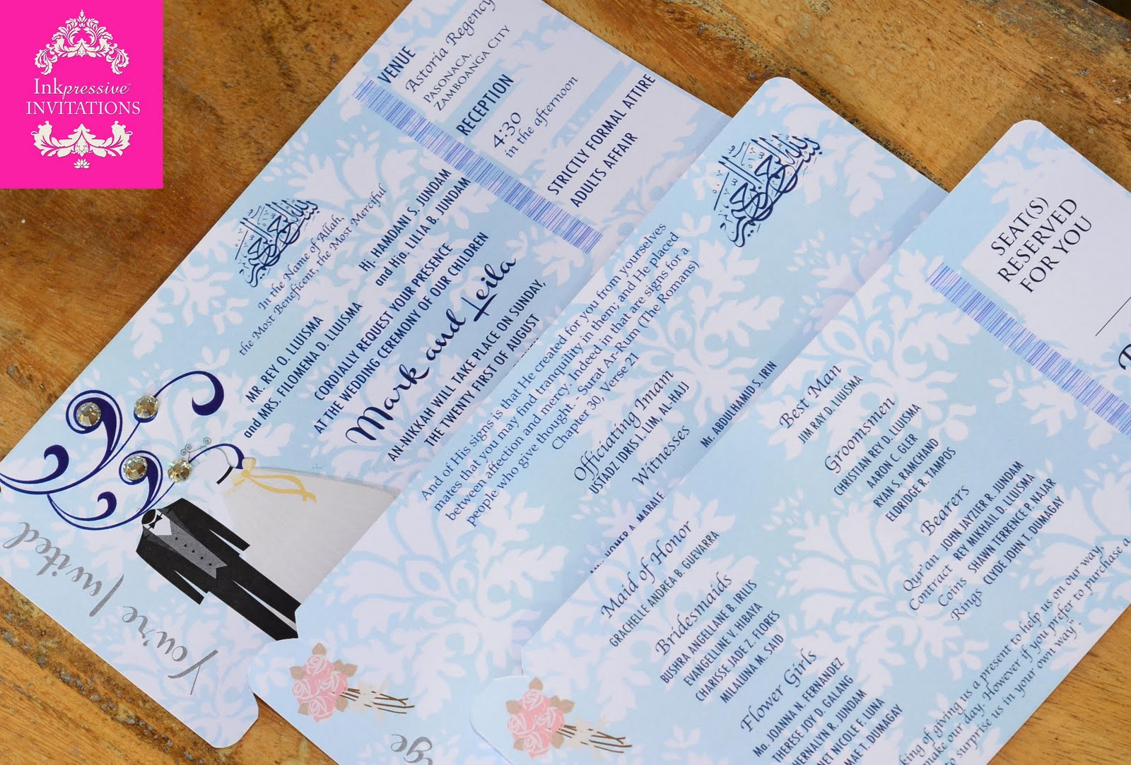 Boarding Pass Style Muslim Wedding Invitation INKPRESSIVE INVITATIONS