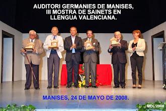 III MOSTRA DE SAINETS EN LLENGUA VALENCIANA. MANISES 2008.