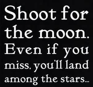 Shoot for the moon. Even if you miss, you'll land among the stars...