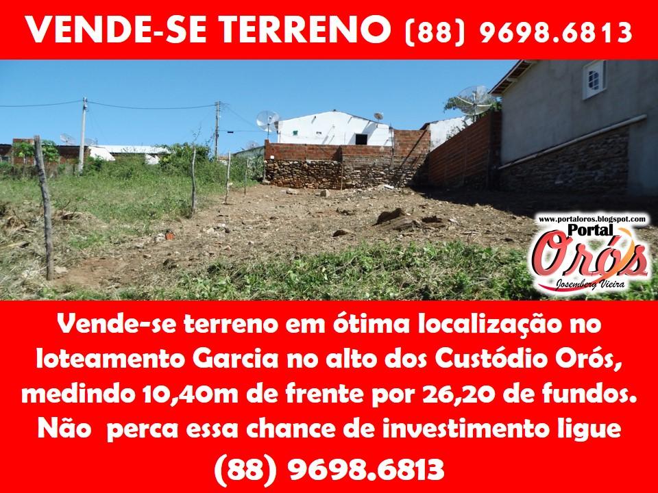 VENDE-SE TERRENO (88) 9698.6813