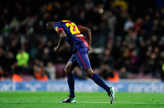 Éric Abidal appears for Barcelona since last featuring for them in February 2012