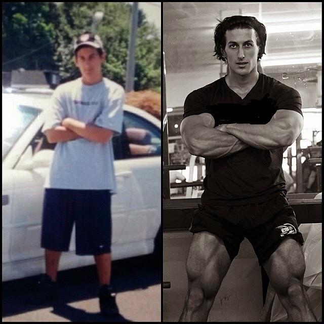 Sadik Hadzovic mostra evolução física alcançada em oito anos: 18 kg de músculos. Foto: Arquivo pessoal