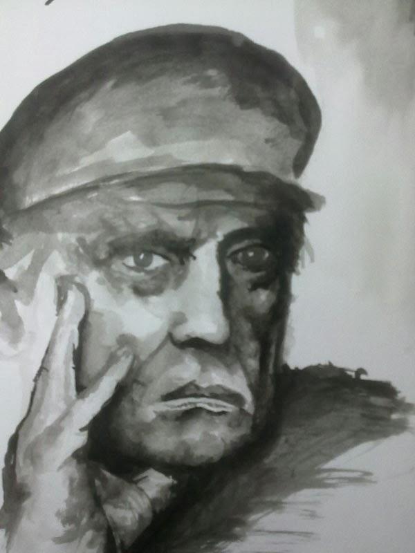 retrato con aguada de tinta