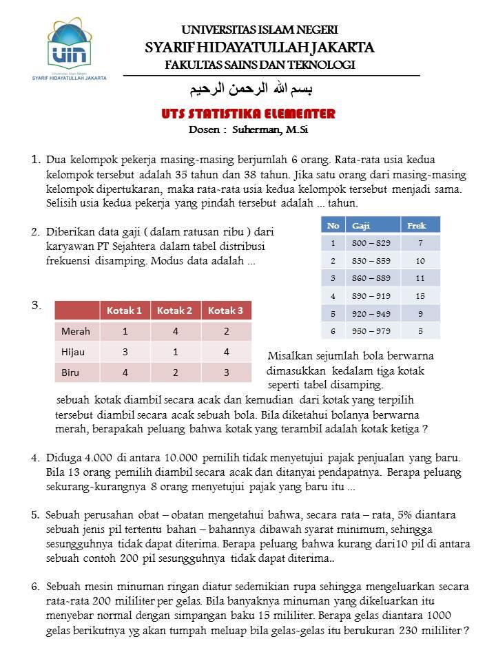 Soal Uts Statistika Elementer 1000 Soal Matematika Uan Snmptn Simak Ui