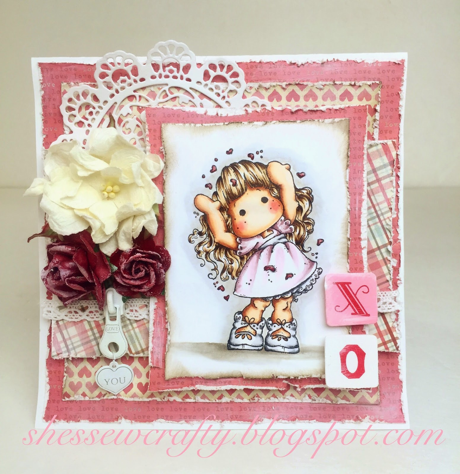 ScrapbookMaven.com sweet romantic Valentine's card using Love, Love, Love Tilda and Prima zipper
