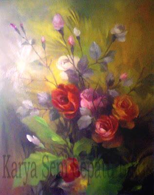 lukisan karya Toto Sukatma,lukisan bunga,lukisan rose,lukisan bunga mawar,lukisan bunga setaman,lukisan bunga bunga,bunga yang indah