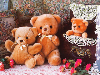 Teddy Bear with Family Picture for New Year Greetings