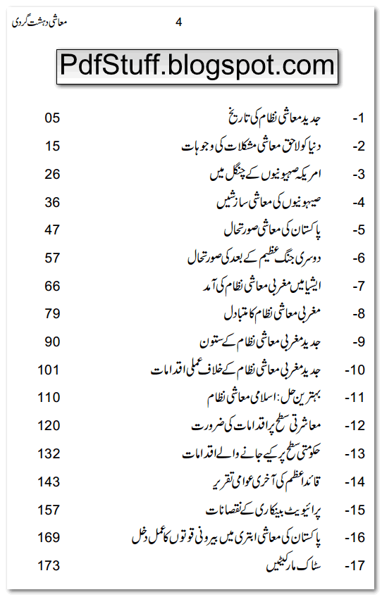 Contents of Urdu book Muashi Dehshat Gardi by Zaid Hamid
