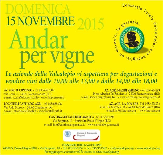 Andar per Vigne in #Valcalepio 15 Novembre Bergamo