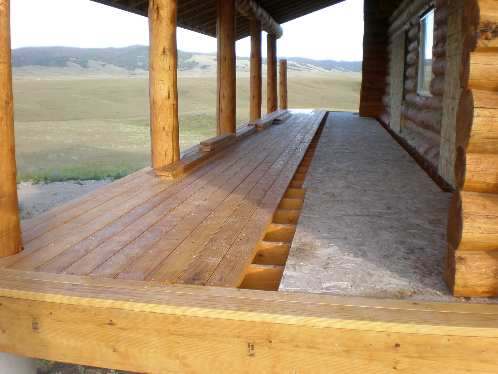 Wonderful image of Anderson Log Cabin Fever Log Home Building: Deck in progress july 10  with #9D6C2E color and 1600x1200 pixels
