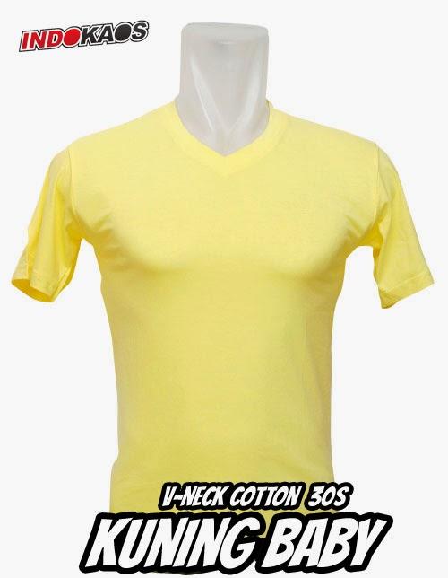 Kaos Polos V neck Kuning
