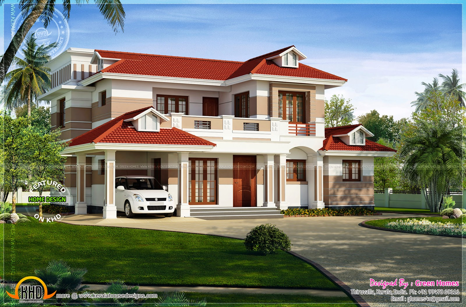 Nice red roof house exterior kerala home design and for Nice house design