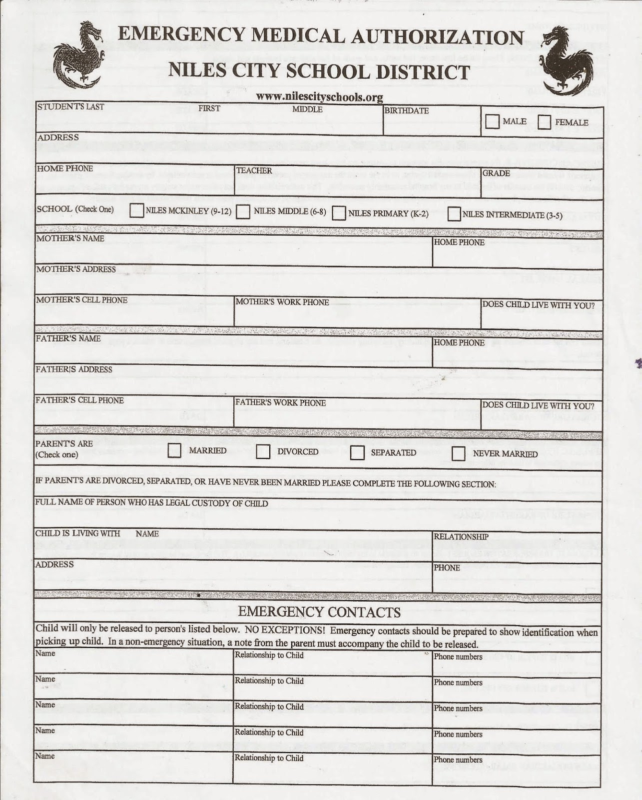 Niles City School Emergency Medical Form