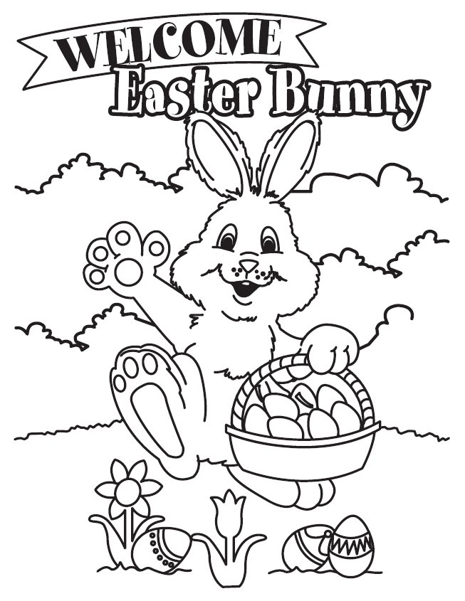 "Coloring & Activity Pages: ""Welcome Easter Bunny"" Coloring Page"