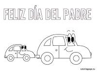 feliz dia del padre colorear coche grande y coche pequeño