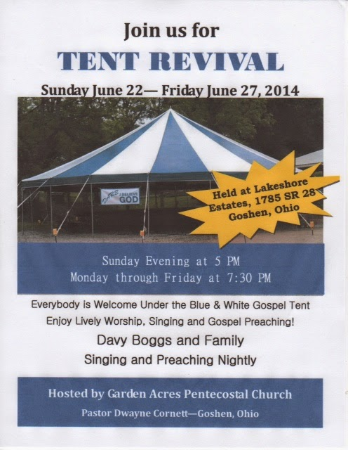 Pastor Cornett has received permission to set the tent up on the property of that trailer park.  sc 1 st  Mile Markers-Boggs Blogs & Mile Markers: Preparing For Tent Revival In Goshen Ohio
