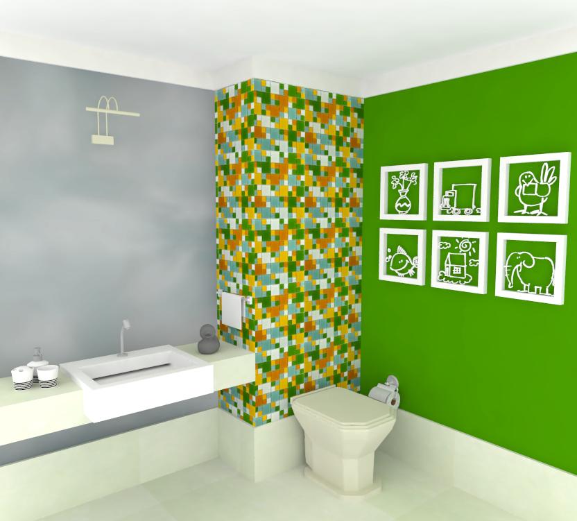Marmoraria MFS Banheiros Silestone -> Banheiro Com Pastilhas De Vidro Laranja