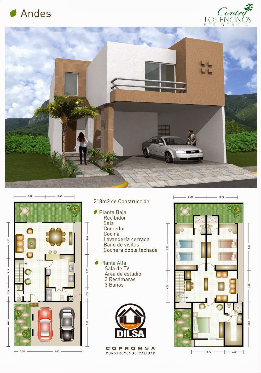 plantas arquitectonicas y fachada Modelo Andes en Contry Los Encinos Residencial