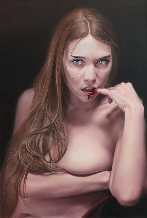 Milan Hrnjazović pinturas distorcidas mulheres e casais nuas